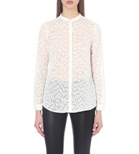 Reiss Day Devore Shirt Off White