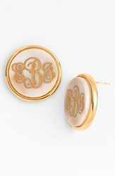 Women's Moon And Lola 'Vineyard' Personalized Monogram Stud Earrings Blonde Tortoise