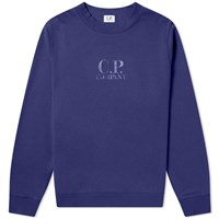 C.P. Company Laminated Logo Print Crew Sweat Blue