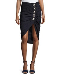 Veronica Beard Marlow Striped Lace Up Ruched Skirt Navy