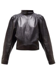 Isabel Marant Caby High Neck Leather Top Black