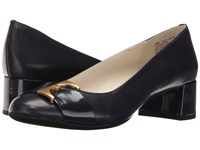 Anne Klein Hastobe Navy Leather Women's Shoes Blue