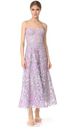 Marchesa Notte Embroidered Strapless Tea Length Gown Lilac