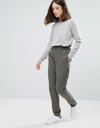 Only Frill High Waisted Trousers Tarmac Grey