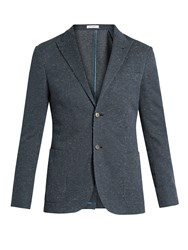 Boglioli Flecked Cotton Jersey Blazer Navy
