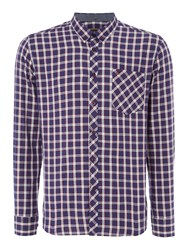 Merc Long Sleeve Checked Shirt Navy
