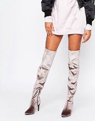New Look 60'S Suedette Flare Over The Knee High Heeled Boot Light Brown