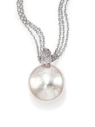 Majorica 18Mm White Coin Pearl And Sterling Silver Triple Chain Pendant Necklace