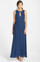 Women's Paper Crown By Lauren Conrad 'Dahlia' Tie Back Sleeveless Keyhole Crepe Gown Navy