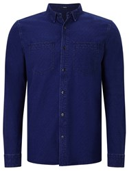 Denham Jeans Edged Cotton Shirt Indigo