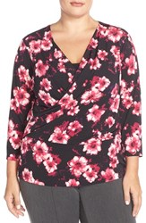 Plus Size Women's Ellen Tracy Faux Wrap Top Black Multi