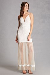 Forever 21 Lace And Tulle Hem Maxi Dress Ivory