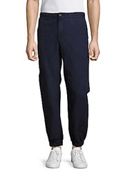 Ag Adriano Goldschmied Linen Blend Solid Pants Blue