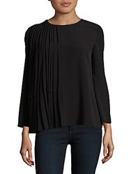 French Connection Leated Crepe Long Sleeve Top Black