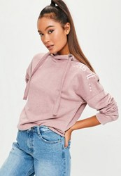 Missguided Purple As If Embroidered Oversized Hoodie Lilac
