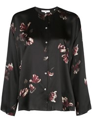 Vince Floral Silk Blouse Black