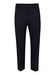 Topman Blue Navy Pinstripe Wool Blend Relaxed Fit Cropped Dress Pants