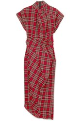 Awake A.W.A.K.E. Tartan Cotton Midi Dress Red Gbp