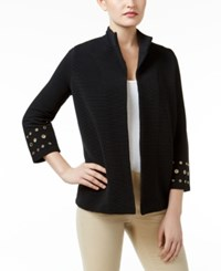 Jm Collection Petite Ribbed Grommet Jacket Only At Macy's Deep Black
