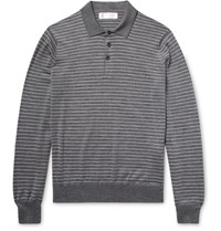 Brunello Cucinelli Striped Wool And Cashmere Blend Polo Shirt Charcoal