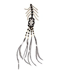 Dries Van Noten Large Rhinestone And Feather Pin Black