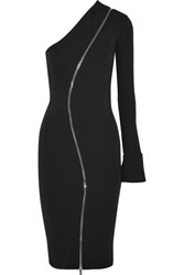 Givenchy One Shoulder Zip Detailed Stretch Jersey Midi Dress Black