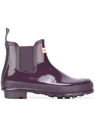 Hunter Glossy Chelsea Boots Pink And Purple