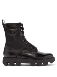 Prada Exaggerated Tread Sole Leather Ankle Boots Black