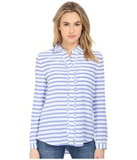 Kate Spade Painterly Stripe Ruffle Shirt Periwinkle Cream Women's Blouse Blue