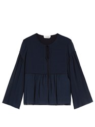 Chloe Gathered Seam Cotton And Silk Blend Top Blue
