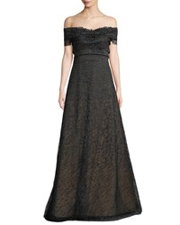 Rene Ruiz Textured Off The Shoulder Ball Gown Black Silver