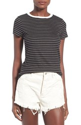 Socialite Women's Stripe Ringer Tee Black White