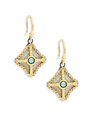 Armenta Old World Champagne Diamond Blue Turquoise Rainbow Moonstone And 18K Goldplated Sterling Silver Drop Earrings