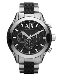 Ax Armani Exchange Watch Men's Chronograph Black Silicone Wrapped Stainless Steel Bracelet 47Mm Ax1214