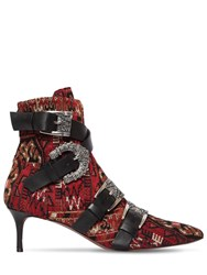 Etro 55Mm Wool Blend Brocade Ankle Boots Red