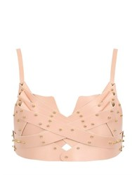 Una Burke Leather Overlapping Bustier