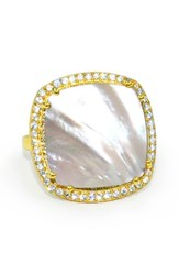Susan Hanover Women's Square Semiprecious Stone Ring Mother Of Pearl Gold
