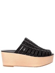 Rick Owens 70Mm Country Leather Wedge Mules Black