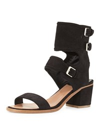Suede Ankle Cuff Sandal Black Laurence Dacade