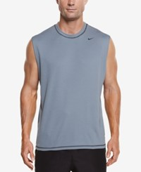 Nike Men's Hydro Performance Upf 40 Swim Shirt Blue Graphite