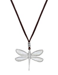 Lucky Brand California Gardens Semi Precious Rock Crystal And Mother Of Pearl Reversible Dragonfly Pendant Necklace Black