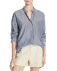 Vince Striped Cotton Pullover Shirt Coastal Chambray