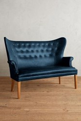 Anthropologie Premium Leather Wingback Bench Marlin