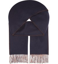 Johnstons Double Face Cashmere Scarf Navy Ginger