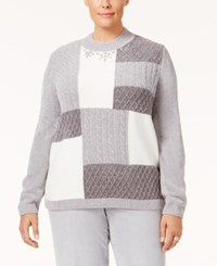 Alfred Dunner Plus Size Northern Lights Collection Embellished Colorblocked Sweater Silver