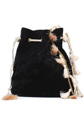 Kayu Nicolette Tasseled Crushed Velvet Clutch Black