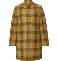The Workers Club Reversible Checked Wool And Cotton Twill Coat Brown