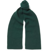 Anderson And Sheppard Ribbed Cashmere Scarf Green