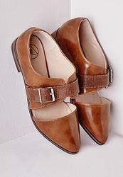 Missguided Cut Out Brogues With Buckle Tan Brown