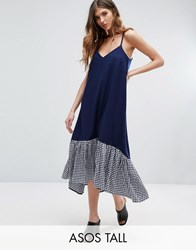 Asos Tall Cami Midi Dress With Dropped Hem In Gingham Multi Blue